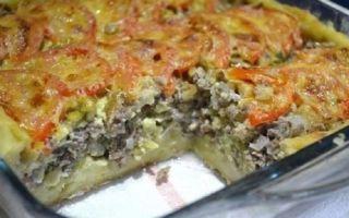 Пирог из заливного картофельного теста
