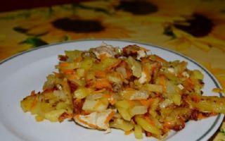 Вегетарианское блюдо – жареная картошка с капустой