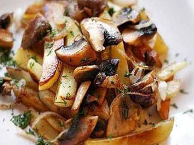 жареная с грибами