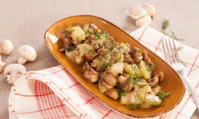 картофель в рукаве с грибами