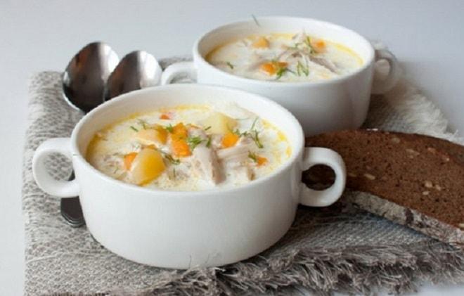 молочный суп с курицей и картошкой