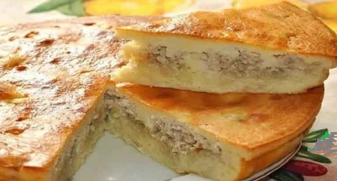 заливной пирог с картофелем и фаршем