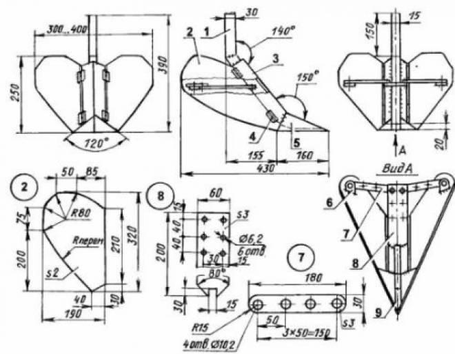 чертеж ручного окучника