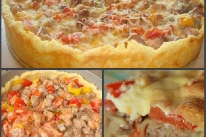 заливной мясной пирог с картофельным тестом